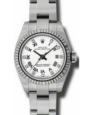 Rolex Lady-Datejust 26 176234-WTRDFO White Diamond Roman Fluted White Gold Brushed Stainless Steel Oyster - BRAND NEW