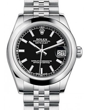 Rolex Datejust 31 Lady Midsize Stainless Steel Black Index Dial & Smooth Domed Bezel Jubilee Bracelet 178240 - BRAND NEW