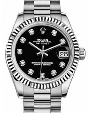 Rolex Datejust 31 178279 Black Diamond Fluted White Gold President 31mm Automatic - BRAND NEW