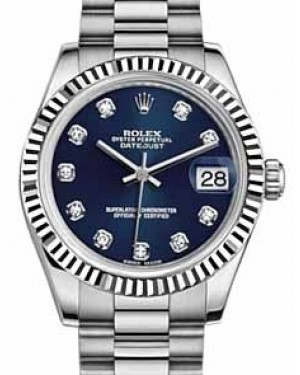 Rolex Datejust 31 178279 Blue Diamond Fluted White Gold President 31mm Automatic - BRAND NEW