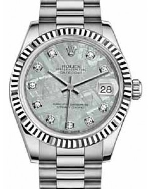 Rolex Datejust 31 178279 Meteorite Diamond Fluted White Gold President 31mm Automatic - BRAND NEW