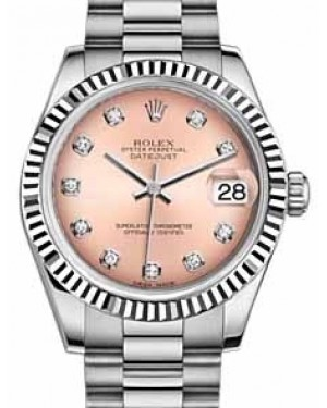 Rolex Datejust 31 178279 Pink Diamond Fluted White Gold President 31mm Automatic - BRAND NEW