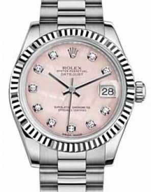 Rolex Datejust 31 178279 Pink Mother of Pearl Diamond Fluted White Gold President 31mm Automatic - BRAND NEW