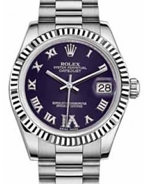 Rolex Datejust 31 178279 Purple Roman Diamond VI Fluted White Gold President 31mm Automatic - BRAND NEW