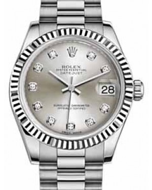 Rolex Datejust 31 178279 Silver Diamond Fluted White Gold President 31mm Automatic - BRAND NEW