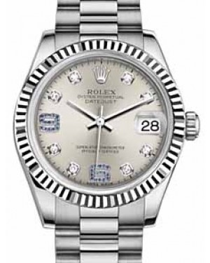 Rolex Datejust 31 178279 Silver Diamond Sapphire Arabic 6 & 9 Fluted White Gold President 31mm Automatic - BRAND NEW