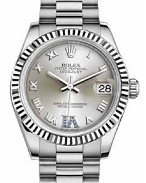 Rolex Datejust 31 178279 Silver Roman Sapphire VI Fluted White Gold President 31mm Automatic - BRAND NEW