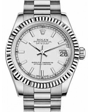 Rolex Datejust 31 178279 White Index Fluted White Gold President 31mm Automatic - BRAND NEW