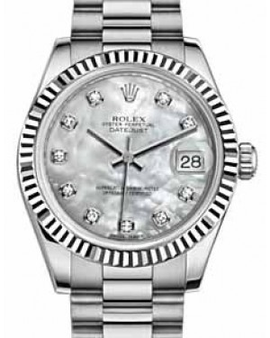 Rolex Datejust 31 178279 White Mother of Pearl Diamond Fluted White Gold President 31mm Automatic - BRAND NEW
