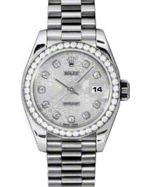 Rolex Lady-Datejust 26 179136-SLVJDP Silver Jubilee Diamond Dial Diamond Bezel Platinum President - BRAND NEW
