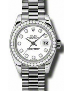 Rolex Lady-Datejust 26 179136-WHTDDP White Diamond  Dial Diamond Bezel Platinum President - BRAND NEW