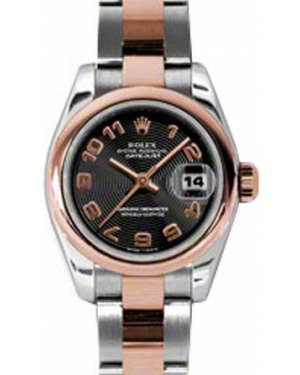 Rolex Lady-Datejust 26 179161-BLKCAO Black Concentric Circle Arabic Rose Gold Stainless Steel Oyster - BRAND NEW