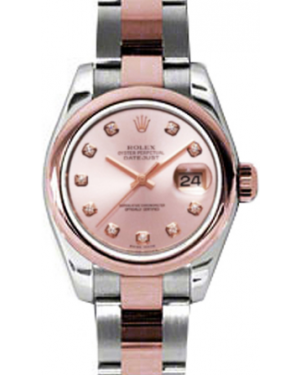 Rolex Lady-Datejust 26 179161-PNKDO Pink Diamond Rose Gold Stainless Steel Oyster - BRAND NEW