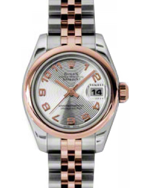Rolex Lady-Datejust 26 179161-SLVCAJ Silver Concentric Circle Arabic Rose Gold Stainless Steel Jubilee - BRAND NEW