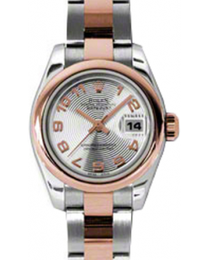 Rolex Lady-Datejust 26 179161-SLVCAO Silver Concentric Circle Arabic Rose Gold Stainless Steel Oyster - BRAND NEW