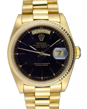 Rolex Day-Date President 18038 Men's 36mm Black Index Fluted 18k Yellow Gold President