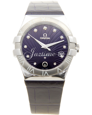 Omega Constellation Quartz 123.13.35.60.60.001 35mm Purple Diamond Stainless Steel Leather BRAND NEW