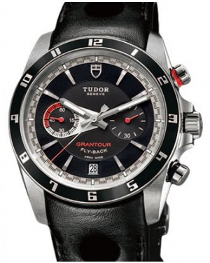 Tudor Grantour Chronograph Fly-Back 20550N Black Index Stainless Steel & Leather 42mm BRAND NEW