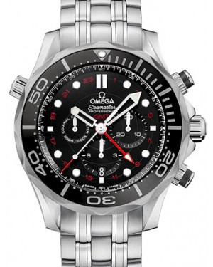 Omega 212.30.44.52.01.001 Seamaster Diver 300M Co-Axial GMT Chronograph 44mm Black Stainless Steel BRAND NEW