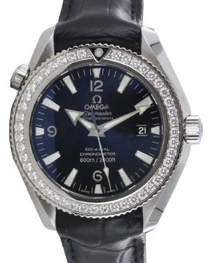 Omega 222.18.42.20.01.001 Planet Ocean 600M Co-Axial 42mm Black Arabic Diamond Bezel Stainless Steel Leather BRAND NEW