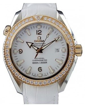 Omega 222.28.42.20.04.001 Planet Ocean 600M Co-Axial 42mm White Arabic Diamond Bezel Stainless Steel Leather BRAND NEW