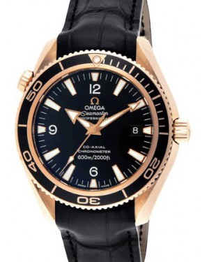 Omega 222.63.42.20.01.001 Planet Ocean 600M Co-Axial 42mm Black Arabic Rose Gold Leather BRAND NEW