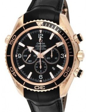 Omega 222.63.46.50.01.001 Planet Ocean 600M Co-Axial 45.5mm Black Rose Gold Leather BRAND NEW