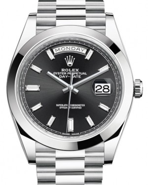 Rolex Day-Date 40 Platinum Black Diamond Dial & Smooth Bezel President Bracelet 228206 - BRAND NEW