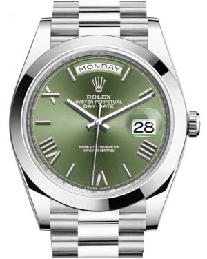 Rolex Day-Date 40 Platinum Olive Green Roman Dial & Smooth Bezel President Bracelet 228206 - BRAND NEW