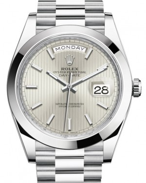 Rolex Day-Date 40 Platinum Silver Striped Index Dial & Smooth Bezel President Bracelet 228206 - BRAND NEW