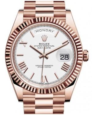 Rolex Day-Date 40 Rose Gold White Roman Dial & Fluted Bezel President Bracelet 228235 - BRAND NEW