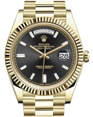 Rolex Day-Date 40 Yellow Gold Black Diamond Dial & Fluted Bezel President Bracelet 228238 - BRAND NEW