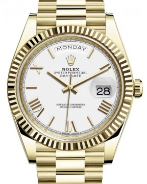 Rolex Day-Date 40 Yellow Gold White Roman Dial & Fluted Bezel President Bracelet 228238 - BRAND NEW