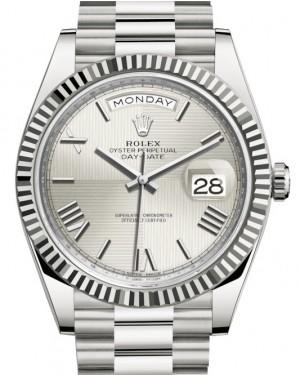 Rolex Day-Date 40 White Gold Silver Quadrant Motif Roman Dial & Fluted Bezel President Bracelet 228239 - BRAND NEW