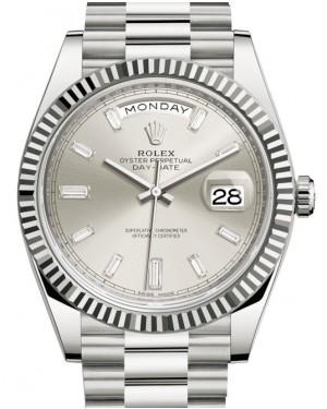 Rolex Day-Date 40 White Gold Silver Diamond Dial & Fluted Bezel President Bracelet 228239 - BRAND NEW