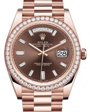Rolex Day-Date 40 Rose Gold Chocolate Diamond Dial & Diamond Bezel President Bracelet 228345RBR - BRAND NEW