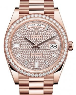 Rolex Day-Date 40 Rose Gold Diamond Pave Dial & Diamond Bezel President Bracelet 228345RBR - BRAND NEW