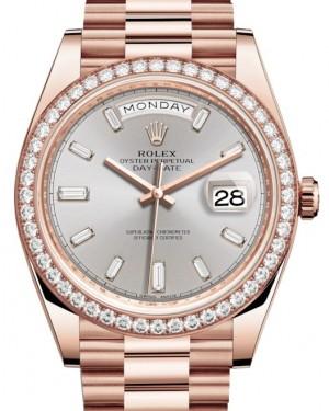 Rolex Day-Date 40 Rose Gold Sundust Diamond Dial & Diamond Bezel President Bracelet 228345RBR - BRAND NEW