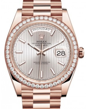 Rolex Day-Date 40 Rose Gold Sundust Stripe Motif Index Dial & Diamond Bezel President Bracelet 228345RBR - BRAND NEW