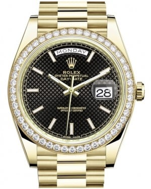 Rolex Day-Date 40 Yellow Gold Black Diagonal Motif Index Dial & Diamond Bezel President Bracelet 228348RBR - BRAND NEW