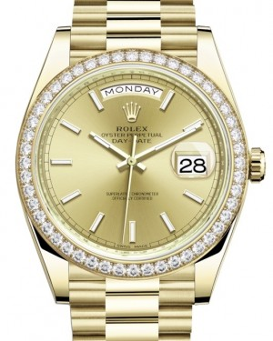 Rolex Day-Date 40 Yellow Gold Champagne Index Dial & Diamond Bezel President Bracelet 228348RBR - BRAND NEW