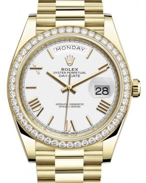 Rolex Day-Date 40 Yellow Gold White Roman Dial & Diamond Bezel President Bracelet 228348RBR - BRAND NEW