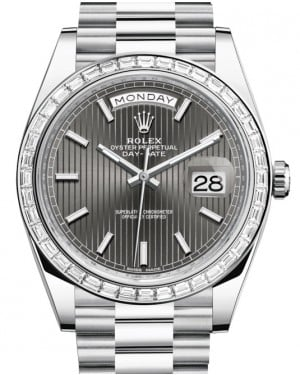 Rolex Day-Date 40 Platinum Rhodium Striped Index Dial & Diamond Bezel President Bracelet 228396TBR - BRAND NEW