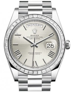 Rolex Day-Date 40 Platinum Silver Quadrant Roman Dial & Diamond Bezel President Bracelet 228396TBR - BRAND NEW