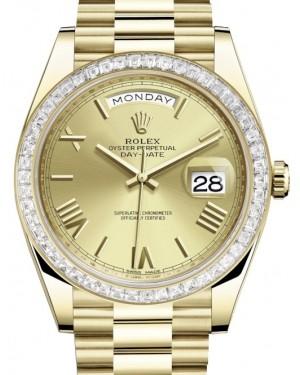 Rolex Day-Date 40 Yellow Gold Champagne Roman Dial & Diamond Bezel President Bracelet 228398TBR - BRAND NEW