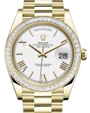 Rolex Day-Date 40 Yellow Gold White Roman Dial & Diamond Bezel President Bracelet 228398TBR - BRAND NEW