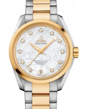 Omega Aqua Terra 150M Master Co-Axial 231.20.39.21.55.004 38.5mm White Mother of Pearl Diamond Yellow Gold Stainless Steel BRAND NEW
