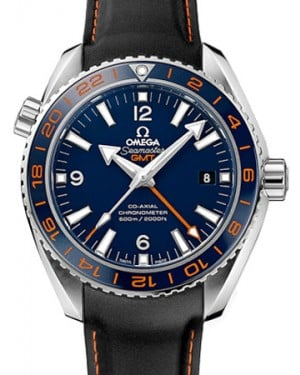 Omega 232.32.44.22.03.002 Planet Ocean 600M Co-Axial GMT 43.5mm Blue Ceramic Orange Stainless Steel Rubber BRAND NEW