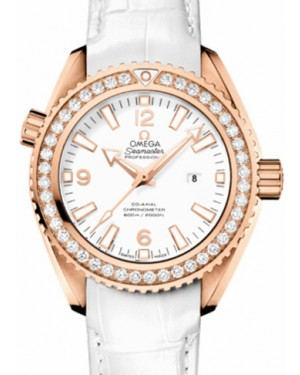 Omega 232.58.38.20.04.001 Planet Ocean 600M Co-Axial 37.5mm White Diamond Bezel Rose Gold Leather - BRAND NEW