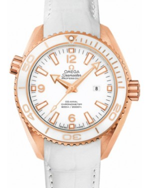 Omega 232.63.38.20.04.001 Planet Ocean 600M Co-Axial 37.5mm White Ceramic Rose Gold Leather - BRAND NEW